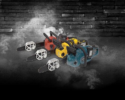 """Nyhet! Super Vac's ombyggingssett for batteridrevne motorsager. Konverterer den batteridrevne sagen om til en fullblods redningssag. Passer til 16"""" (40 cm) sagene til Makita, DeWALT og Milwaukee"""